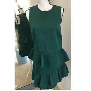 H&M PREMIUM GREEN TIERED SCUBA DRESS NWT
